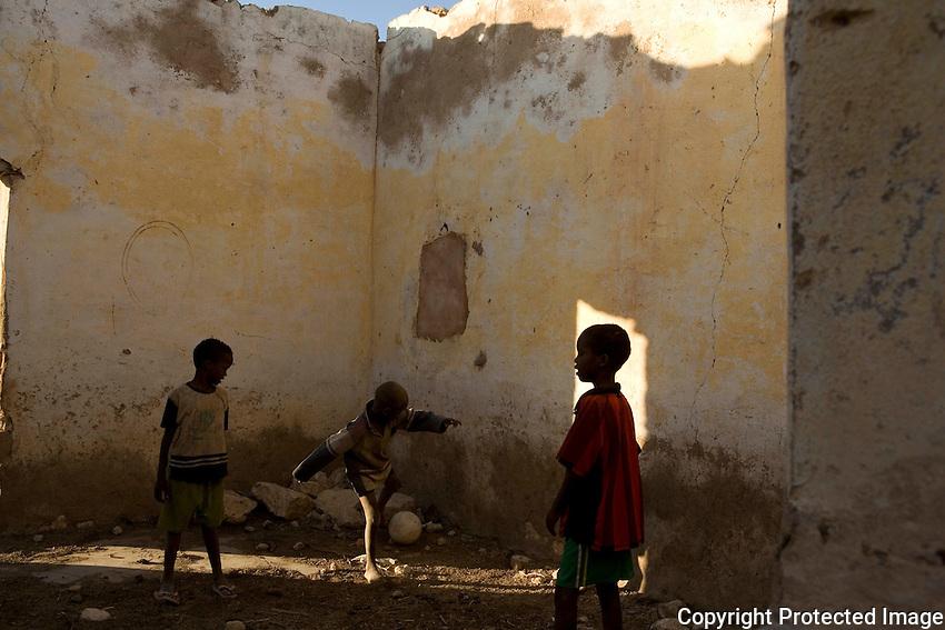 Children at  play in IDP camp, Galkayo Somalia..