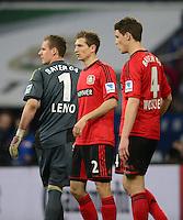 FUSSBALL   1. BUNDESLIGA   SAISON 2012/2013    29. SPIELTAG FC Schalke 04 - Bayer 04 Leverkusen                        13.04.2013 Torwart Bernd Leno, Daniel Schwaab und Philipp Wollscheid (v.l., alle Bayer 04 Leverkusen) sind enttaeuscht