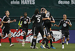 13 June 2009: DC's Christian Gomez (10) is mobbed by teammates after scoring a goal. DC United defeated the Chicago Fire 2-1 at RFK Stadium in Washington, DC in a regular season Major League Soccer game.