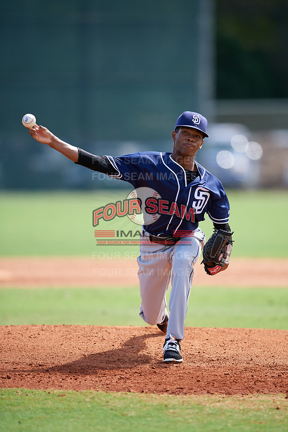 Yeankarlos Lleras (1) while playing for Padres Scout Team/Chandler World based out of Winter Garden, Florida during the WWBA World Championship at the Roger Dean Complex on October 21, 2017 in Jupiter, Florida.  Yeankarlos Lleras is a pitcher from Carolina, Puerto Rico.  (Mike Janes/Four Seam Images)