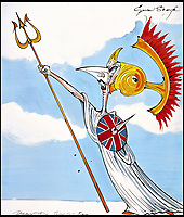 BNPS.co.uk (01202 558833)<br /> Pic: Sothebys/BNPS<br /> <br /> Margaret Thatcher as britannia.<br /> <br /> A collection of more than 130 drawings by one of Britain's most celebrated cartoonists has emerged for auction and are tipped to sell for &pound;850,000.<br /> <br /> The collection of Gerald Scarfe - who has worked as a cartoonist for the Sunday Times for 44 years - includes satirical portraits of leading political figures from Winston Churchill to Theresa May, as well as examples of his work on Disney film Hercules and Pink Floyd's animation film The Wall.<br /> <br /> While many of the drawings included in the auction have been published, a number of works included in the sale are unseen.<br /> <br /> Those who have been immortalised in his cartoons include Donald Trump, Barack Obama, George Bush, David Cameron, Tony Blair, Margaret Thatcher, Boris Johnson, Nigel Farage, George Osborne and Jeremy Corbyn.