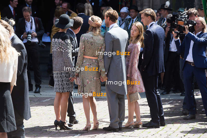 Mariage du Prince Ernst junior de Hanovre et de Ekaterina Malysheva &agrave; l'&eacute;glise Markkirche &agrave; Hanovre.<br /> Allemagne, Hanovre, 8 juillet 2017.<br /> Wedding of Prince Ernst Junior of Hanover and Ekaterina Malysheva at the Markkirche church in Hanover.<br /> Germany, Hanover, 8 july 2017<br /> Pic :  Beatrice Borromeo &amp; Princess Charlotte Casiraghi, Alexandra of Hanover &amp; boyfriend Ben Silvester Strautmann