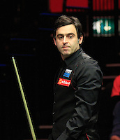 Ronnie O'Sullivan rues a missed shot during the Dafabet Masters FINAL between Barry Hawkins and Ronnie O'Sullivan at Alexandra Palace, London, England on 17 January 2016. Photo by Liam Smith / PRiME Media Images