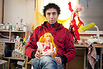 """(FEATURE) December 12, 2012, Tokyo, Japan - Arturo Coria Altamirano, sculptor, originally from Mexico, has been living in Japan for 10 years. Pictured in the studio are sculptures in the making called """"The Queens"""" that represents the extravagant fashionable girls of Tokyo. His creations are unique as he uses a combination of Asian realistic-looking faces and other elements that are different from the typical anime doll figurines. Altamirano works in his own private studio in Tokyo where making one sculpture can take up to two months and the price for one piece can range from 150,000 to 200,000 Japanese yen or $1,810 to $2,413 USD. He has collaborated with Toyota's """"K"""" project and Toyota's art exhibition called """"Realism"""" in which his sculptures were exhibited at the Mitsukoshi Department Store in Tokyo's Nihombashi district. (Photo by Rodrigo Reyes Marin/AFLO)"""