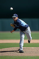 Tampa Bay Rays pitcher C.J. Riefenhauser (34) during a Spring Training game against the Baltimore Orioles on March 14, 2015 at Ed Smith Stadium in Sarasota, Florida.  Tampa Bay defeated Baltimore 3-2.  (Mike Janes/Four Seam Images)