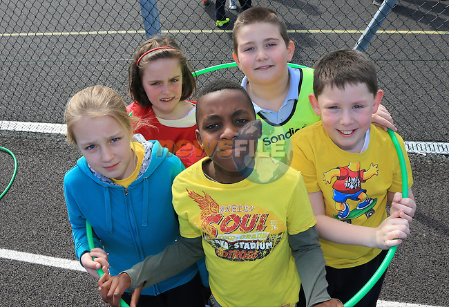 Oisin Allen, Reece Maguire, Ciaran Arthur, Lauren davis and Gabrielle Dainute.students in St Mary's Parish School taking part in Co-operative Games as part of Louth Primary Schools' Intercultural Week..Picture: Fran Caffrey / www.newsfile.ie ..