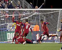 Real Salt Lake defender Chris Schuler (28) clears the ball. In a Major League Soccer (MLS) match, Real Salt Lake defeated the New England Revolution, 2-0, at Gillette Stadium on April 9, 2011.