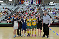 All Star Team from left Yejin Shim ( Korea ), Jill Quek ( Singapore ), Yui Goto ( Japan ), Alexandra Staib ( Australia ), Blaise Hodges ( Australia ) and Maria Hegaty ( New Zealand ), World Floorball Championships 2017 Qualification for Asia Oceania Region at ASB Sports Centre , Wellington, New Zealand on Sunday 5 February 2017.<br /> Photo by Masanori Udagawa<br /> www.photowellington.photoshelter.com.