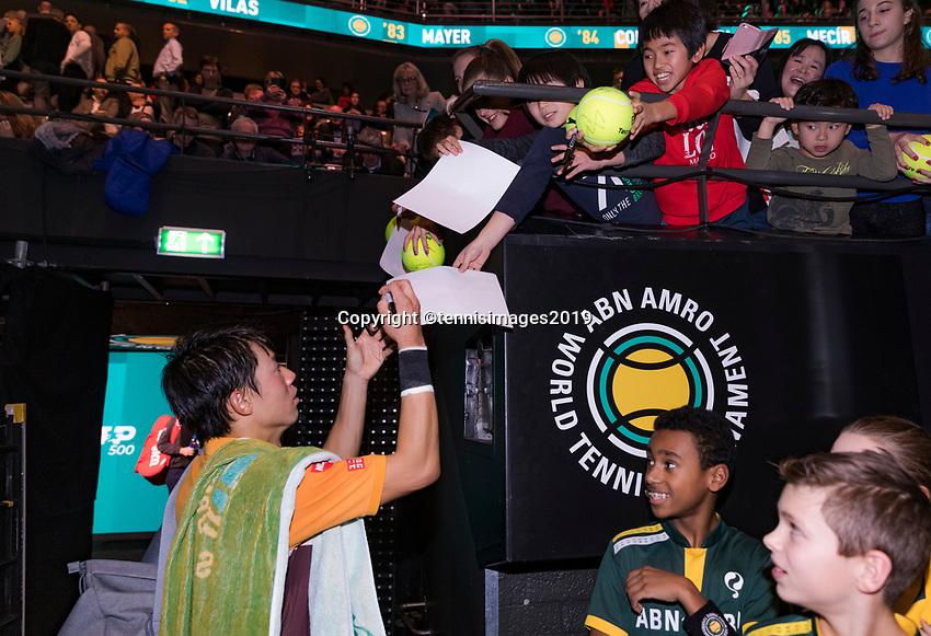 Rotterdam, The Netherlands, 14 Februari 2019, ABNAMRO World Tennis Tournament, Ahoy, Kei Nishikori (JPN),<br /> Photo: www.tennisimages.com/Henk Koster