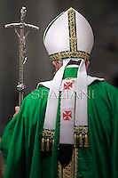 Pope Francis celebrates holy mass with seminarians and novices at the Vatican's Saint Peter basilica.on July 7, 2013