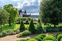 France, Indre-et-Loire (37), Amboise, château d'Amboise, jardin paysager avec boules de buis des Baléares ( (Buxus balearica), topiaires de laurier du Portugal (vérif), cardons, géranium