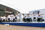 Tokyo governor Yuriko Koike (C) alongside organizers and Paralympians work out during the 3 Years to Go! ceremony for the Tokyo 2020 Paralympic games at Urban Dock LaLaport Toyosu on August 25, 2017. The Games are set to start on August 25th 2020. (Photo by Rodrigo Reyes Marin/AFLO)