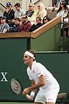 March 10, 2019: Pete Sampras watches Roger Federer (SUI) defeat Peter Gojowczyk (GER) 6-1, 7-5 at the BNP Paribas Open at the Indian Wells Tennis Garden in Indian Wells, California. ©Mal Taam/TennisClix/CSM