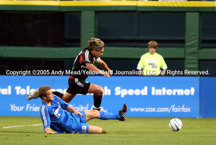 21 May 2005: Jimmy Conrad (12) knocks the ball away from Jaime Moreno (above). DC United defeated the Kansas City Wizards 3-2 at RFK Stadium in Washington, DC in a regular season Major League Soccer game. . .