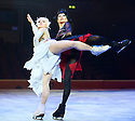 Swan Lake on Ice performed by The Imperial Ice Stars choreographed by Tony Mercer with music by Tchaikovsky. With Olena Pyatash as The Black Swan , Olga Sharutenko as The White Swan. Opens at The Royal Albert Hall on 18/5/12  .CREDIT Geraint Lewis