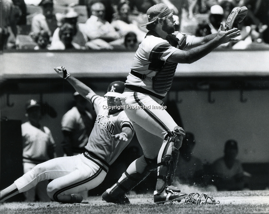 Oakland Athletic's Dave Collins scores, Chicago White Sox catcher Marc Hill. (1985 photo by Ron Riesterer)