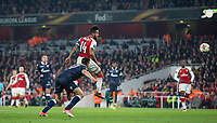 Theo Walcott of Arsenal heads a shot at goal during the UEFA Europa League group stage match between Arsenal and FC Red Star Belgrade at the Emirates Stadium, London, England on 2 November 2017. Photo by Andy Rowland.