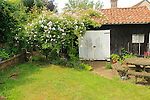 Property Released black tarred wooden barn shed in garden, Shottisham, Suffolk, England, UK