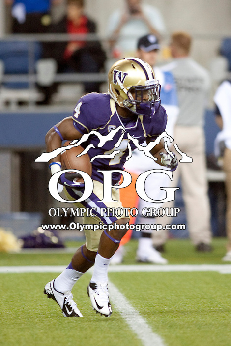 Sept 01, 2012:  Washington's Jaydon Mickens against San Diego State.  Washington defeated San Diego State 21-12 at CenturyLink Field in Seattle, Washington...