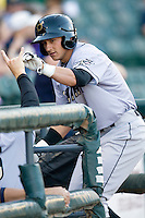 Omaha Storm Chaser outfielder David Lough celebrates his first inning home run against the Round Rock Express in Pacific Coast League baseball on Monday April 11th, 2011 at Dell Diamond in Round Rock Texas.  (Photo by Andrew Woolley / Four Seam Images)