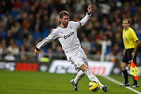 16.12.2012 SPAIN -  La Liga 12/13 Matchday 16th  match played between Real Madrid CF vs  RCD Espanyol (2-2) at Santiago Bernabeu stadium. The picture show Sergio Ramos (Spanish defender of Real Madrid)