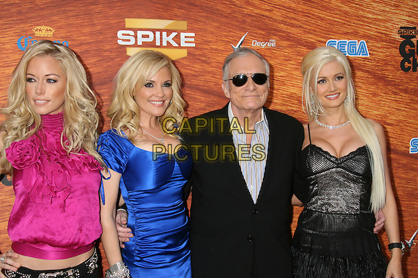 "KENDRA WILKINSON, BRIDGET MARQUARDT, HUGH HEFNER, & HOLLY MADISON .2008 Spike TV's ""Guys Choice"" Awards held at Sony Studios, Los Angeles, California, USA..May 30th, 2008.half length pink top blue dress sunglasses shades ruffles ruffed silk satin black suit jacket .CAP/ADM/MJ.©Michael Jade/AdMedia/Capital Pictures."
