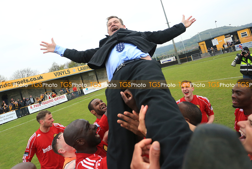 Merstham Manager Hayden Bird celebrating being promoted with his team during Folkestone Invicta vs Merstham, Ryman League Division 1 South Play-Off Final Football at Cheriton Road Sports Ground on 2nd May 2015