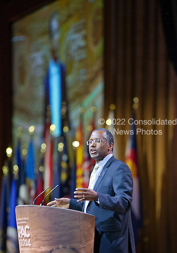 Dr. Ben Carson, Professor Emeritus, Johns Hopkins School of Medicine, speaks at the Conservative Political Action Conference (CPAC) at the Gaylord National at National Harbor, Maryland on Saturday, March 8, 2014.<br /> Credit: Ron Sachs / CNP