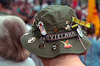 Hat with memorabilia at Vietnam Wall on Memorial Day. St Paul Minnesota USA