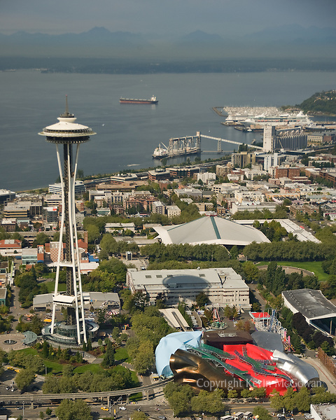 Aerial of Seattle Center and Elliott Bay with Space Needle and Experience Music Project