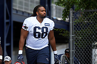 July 26, 2018: New England Patriots offensive lineman LaAdrian Waddle (68) heads to practice at the New England Patriots training camp held on the practice fields at Gillette Stadium, in Foxborough, Massachusetts. Eric Canha/CSM