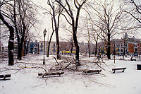 1998 File Photo - Montreal (qc) CANADA - January 1998 - Montreal (Qc) CANADA - Ice storm in Montreal.<br /> <br /> The North American Ice Storm of 1998 (also known as Great Ice Storm of 1998 and Great Ice Storm '98) was a massive combination of five smaller successive ice storms which combined to strike a relatively narrow swath of land from eastern Ontario to southern Quebec to Nova Scotia in Canada, and bordering areas from northern New York to central Maine in the United States, in January 1998. It caused massive damage to trees and electrical infrastructure all over the area, leading to widespread long-term power outages. Millions were left in the dark for periods varying from days to weeks, leading to more than 30 fatalities, a shut down of activities in large cities like Montreal and Ottawa, and an unprecedented effort in reconstruction of the power grid. The ice storm led to the largest deployment of Canadian Military personnel since the Korean War, with over 15,000 Canadian Forces personnel deployed in Ontario, Quebec and New Brunswick at the height of the crisis.January 1998 - Montreal (Qc) CANADA - Ice storm in Montreal.<br /> <br /> The North American Ice Storm of 1998 (also known as Great Ice Storm of 1998 and Great Ice Storm '98) was a massive combination of five smaller successive ice storms which combined to strike a relatively narrow swath of land from eastern Ontario to southern Quebec to Nova Scotia in Canada, and bordering areas from northern New York to central Maine in the United States, in January 1998. It caused massive damage to trees and electrical infrastructure all over the area, leading to widespread long-term power outages. Millions were left in the dark for periods varying from days to weeks, leading to more than 30 fatalities, a shut down of activities in large cities like Montreal and Ottawa, and an unprecedented effort in reconstruction of the power grid. The ice storm led to the largest deployment of Canadian Military personnel sinc