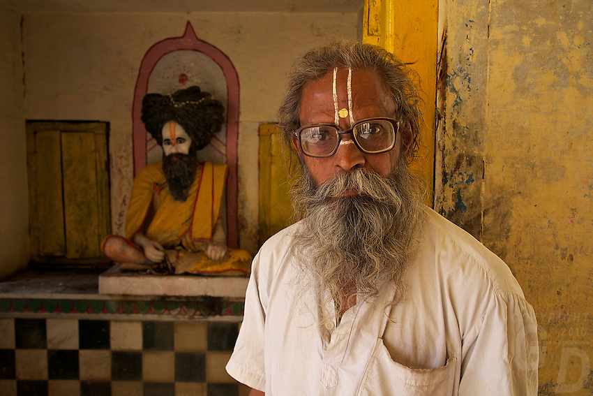 Hindu priest at the Rameshwar Village and Hindu Temple 15 km from Varanasi, India
