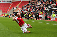 Rotherham United VS Bury, New York Stadium Rotherham, Saturday 9th September 2017 <br /> Rotherhams Richie Towell celebrates scoring the winner for Rotherham against Bury 3-2.<br /> <br /> Picture - Alex Roebuck / www.alexroebuck.co.uk