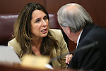 Nevada Assembly Republicans Victoria Seaman and John Ellison work in committee at the Legislative Building in Carson City, Nev., on Wednesday, April 8, 2015. <br /> Photo by Cathleen Allison