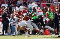 Stanford, CA - November 5, 2016: Keller Chryst Isaiah Brandt-Sims during  the Stanford vs Oregon State game at Stanford Stadium Saturday. <br /> <br /> Stanford won 26-15.