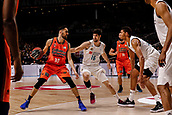25th March 2018, Madrid, Spain; Endesa Basketball League, Real Madrid versus Valencia; Joan Sastre (Valencia Basket) brings the ball foward Santiago Yusta (Real Madrid Baloncesto)