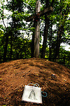A n illustration of Christ is laid on the earth where it is claimed Jesus Christ is buried in Shingo Village, Aomori Prefecture, northern Japan. Some residents of Shingo say that Jesus spent 12 years in Japan and is buried in the village. Among them is Sajiro Sawaguchi, who is in his 80s, who claims to be a descendant of Christ and whose family owns the land containing Christ's grave.
