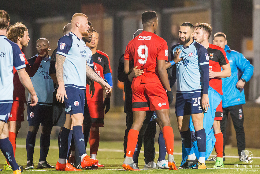 Friction between Shaun Okojie (Eastbourne) & Aryan Tajbakhsh (Crawley) during Parafix Sussex Senior Cup Quarter Final between Eastbourne Borough FC & Crawley Town FC on Tuesday 09 January 2018 at Priory Lane. Photo by Jane Stokes (DJ Stotty Images)