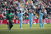 Jason Roy (England) congratulates Mark Wood (England) not he wicket of Tamim Iqbal (Bangladesh) during England vs Bangladesh, ICC World Cup Cricket at Sophia Gardens Cardiff on 8th June 2019