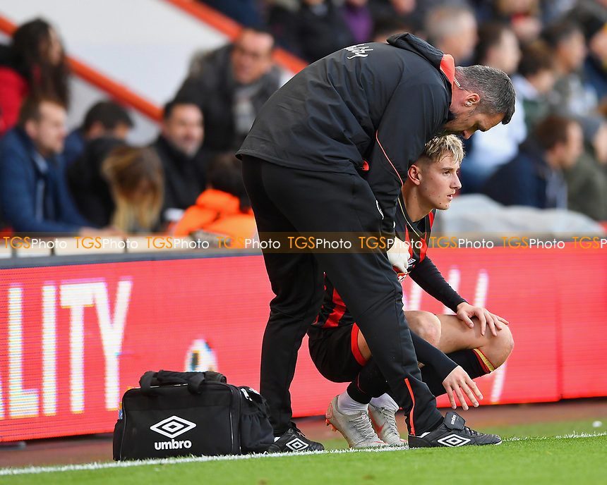 Injury concern for David Brooks of AFC Bournemouth during AFC Bournemouth vs Arsenal, Premier League Football at the Vitality Stadium on 25th November 2018
