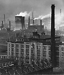Factories and chimneys in Middlesborough 1940s