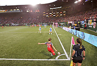 Portland, OR - Saturday August 19, 2017: Meghan Klingenberg takes a corner kick during a regular season National Women's Soccer League (NWSL) match between the Portland Thorns FC and the Houston Dash at Providence Park.