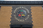 The club badge featuring Scottish and English motifs on a wall outside Shielfield Park, before the Scottish League Two fixture between Berwick Rangers and East Stirlingshire. The home club occupied a unique position in Scottish football as they are based in Berwick-upon-Tweed, which lies a few miles inside England. Berwick won the match by 5-0, watched by a crowd of 509.