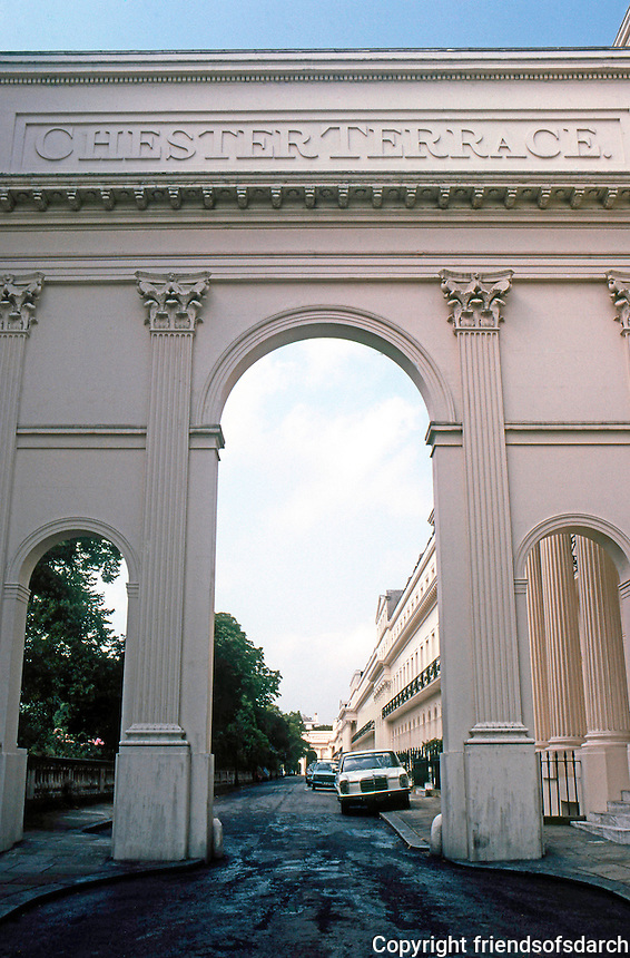 London: Chester Terrace--Entrance. John Nash.  Photo '79.