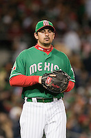 15 March 2009: #23 Adrian Gonzalez of Mexico gets back to first base during the 2009 World Baseball Classic Pool 1 game 2 at Petco Park in San Diego, California, USA. Korea wins 8-2 over Mexico.