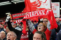 Liverpool fans hold scarves aloft as they show their support ahead of kick-off<br /> <br /> Photographer Rich Linley/CameraSport<br /> <br /> UEFA Champions League Semi-Final 2nd Leg - Liverpool v Barcelona - Tuesday May 7th 2019 - Anfield - Liverpool<br />  <br /> World Copyright &copy; 2018 CameraSport. All rights reserved. 43 Linden Ave. Countesthorpe. Leicester. England. LE8 5PG - Tel: +44 (0) 116 277 4147 - admin@camerasport.com - www.camerasport.com