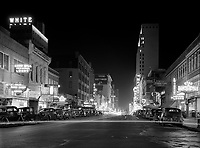 Night view, downtown section. Dallas, Texas. Photograph by Arthur Rothstein on assignment for the Farm Security Administration, January 1942.