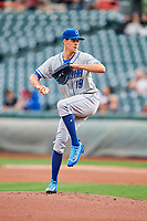 Omaha Storm Chasers starting pitcher Luke Farrell (19) delivers a pitch to the plate against the Salt Lake Bees in Pacific Coast League action at Smith's Ballpark on May 8, 2017 in Salt Lake City, Utah. Salt Lake defeated Omaha 5-3. (Stephen Smith/Four Seam Images)
