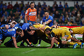 June 3rd 2017, NIB Stadium, Perth, Australia; Super Rugby; Force v Hurricanes;  Michael Ruru of the Western Force sees a problem with the scrum pack